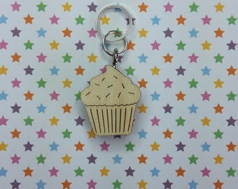 Cupcake wooden stitch marker - knitting notions - charm