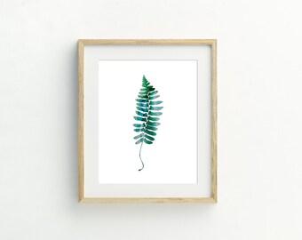 Silver Green Leaf Print #3