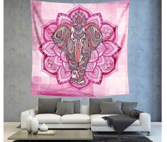 Pink Bohemian Elephant Wall Tapestry Wall Decor Hanging