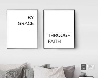 By Grace Through Faith Poster, XL Extra Large Files Included, By Grace Through Faith Print, Bible Verse, Ephesians 2:8, Christian Quote