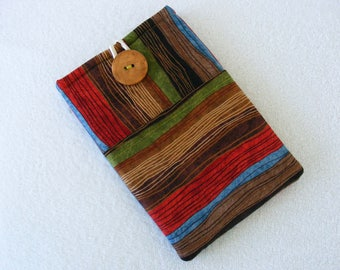 """Brown Rustic Stripes, IPad Mini Cover, Kindle Fire Cover, Nook HD Cover, IPad Mini Case, Kindle Fire Case, Small Tablet Cover,   9""""x 5 3/4"""""""