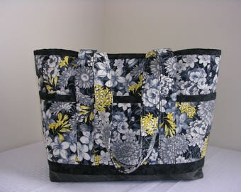 Smoky Grey Flowers, Quilted Tote Bag, Lrg