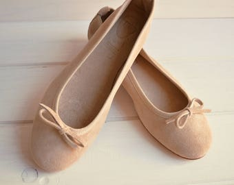 Powder Pink suede ballerina flats. made in Italy natural materials. Flat blush shoes