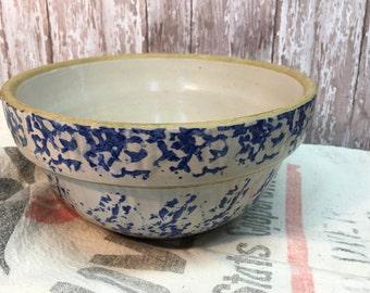 Vintage Blue Spongeware Mixing Bowl/Spatterware/Serving Bowl