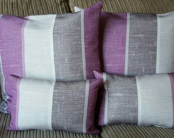 Quality handmade Purple & Grey Striped Cushion
