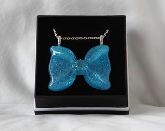 Large Blue Bow Necklace