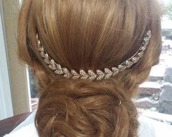 Rose Gold  Bride Back Hair Piece/ Rhinestone Hair Piece/Rose Gold Wedding Hair Jewelry