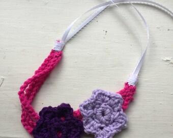 Girls Crocheted Double Flower Headband