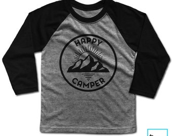 Happy Camper | Happy Camper Shirt | Camping Shirt | Happy Camper Tshirt | Mountain Shirt | Camping Gift | Gifts for Her | Kids Baseball Tee