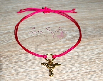 Elegant bracelet with heart key pink