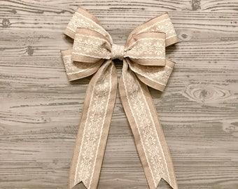 Wedding bow, lace bow, wreath bow, pew bow, chevron wreath bow, wedding lace, burlap bow, wedding burlap bow, church pew decor