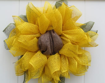 Summer Sunflower Wreath, Yellow Sunflower Wreath, Sunflower Wreath, Spring Flower Wreath, Housewarming Gift, Flower Wreath
