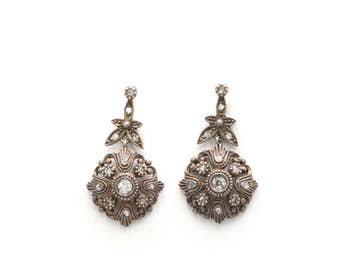 Victorian Silver Over Gold Rose Cut Diamond Earrings