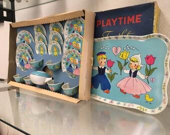 Vintage Tin Litho Chein Tea Set Tea For Four Boxed 20 Pieces Gently Used