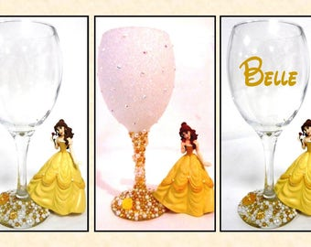 Belle Disney Inspired Glitter and Pearl Wine Glass ~ Decorative, Drinking or personalised Drinking Glass