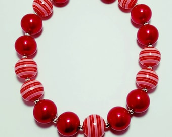 Chunky Bubblegum Necklace, Girls Necklace, Valentines Day Necklace
