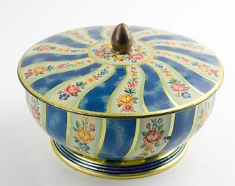 Vintage floral design candy tin.