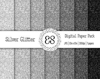 Silver Glitter Digital Paper Pack, Glitter Scrapbook Paper, Sparkle Scrapbook Paper, Glitter Paper Texture, INSTANT DOWNLOAD