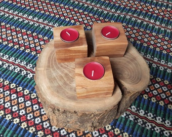 Set of 3 Solid Wood Tea Light Candle Holders - Wild Cherry