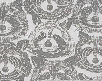 Rocky Raccoon in Gray - Alexander Henry knit fabric