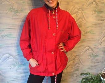 Vintage Windbreaker Red Parka Hipster Jacket Red Nylon Jacket Lightweight Jacket Red Jogging Track Jacket Size Large