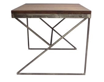 Solid English Ash Coffee Table with Steel Base