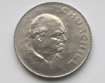 Uncirculated British Churchill Crown 1965 commemorative coin Winston Churchill's death Queen Elizabeth II English money collectable SALE