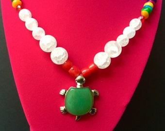 Green Aventurine Turtle Pendant Necklace,Sea Life Gemstones Jewelry,Rosе Quartz and Red Corals Jewels,Semiprecious Stones Princess Necklace