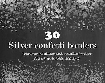 Silver digital confetti borders, silver glitter confetti, silver confetti border, digital confetti overlay, instant download