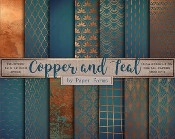 Copper teal, digital paper, scrapbook, metallic pattern, teal, metal, copper, blue, iridescent, raindrops, Art Deco, geometric, rustic, rust