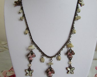 Enamel butterfly and shell Bib necklace retro vintage style