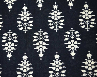 Black and White Flower Block Print Cotton Fabric by the Yard