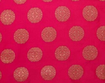 Half Yard of Light Maroon and Golden Circular Pattern Brocade Silk Fabric, Indian Silk Fabric, Brocade Fabric