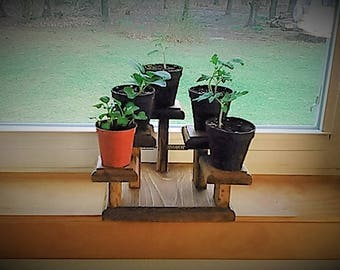 "Square window sill plant stand-7""x7"" base-5""center stand- 2 1/2"" pads"