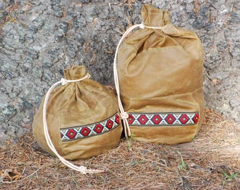 Bushcraft Pair of Sami Style Coffee Bags Waxed Cotton