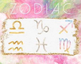 Zodiac Signs Clip Art - Astrology Signs Clipart - Astrology Clip Art - Horoscope Clip Art Sign - Gold Astrological Metaphysical Clipart