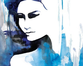 watercolor/printable/instant digital download/original/painting/digital/wall decor/print/girl/women/abstract/blue