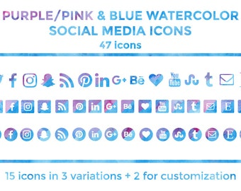 Blue Purple Watercolor Social Media Icons Buttons Website Icons Blog Icons Social Media Icons Graphics Twitter