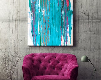 Blue drip - Blue art - abstract art - blue abstract - housewarming gift - home decoration - interior decor