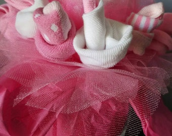 Baby sock bouquet - baby shower centerpiece - unique baby gift - new mom gift -gender neutral baby shower gift - new baby gift