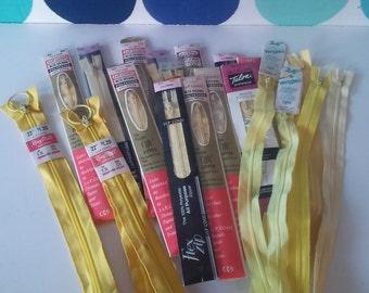 Vintage Yellow Tone Zippers- 24 Vintage Zippers