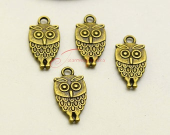 40PCS--18x10mm ,Mini Owl Charms -Antique bronze double side owl Charms Pendants , DIY supplies,Jewelry Making LCM0916