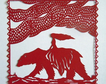 East Of The Sun And West Of The Moon Folk Tale Inspired Handmade Paper Cut