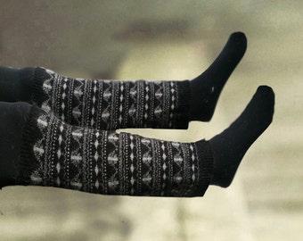 Winter leg warmers, Women's leg warmers, Wool leg warmers, Knitted legwarmers, Black legwarmers, Scandinavian pattern, Knee legwarmers