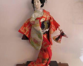 "Geisha Yamaha Tsuzumi  doll 12 1/2"" Tall"