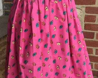 Retro skirt, vintage inspired skirt, rockabilly skirt, full skirt, alternative skirt, 1950s inspired skirt, pink skirt, novelty skirt