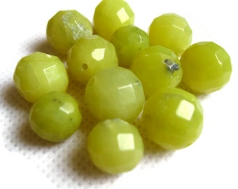 Faceted Round Green Agate Beads - Agate Gemstone Beads - Faceted Round Agate Beads
