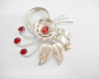 Vintage Brooch, Sterling Brooch, Vintage Silver Brooch, Designer Vintage Sterling Silver Red Glass Flower Brooch Signed HI Pin #1701