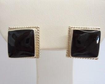 Taxco Earrings, Sterling Earrings, Stud Earrings, Taxco Studs, Taxco Sterling Silver Black Enamel Stud Post Earrings T4-127 #1462