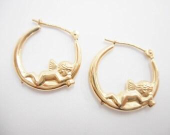 Angel Hoops, Gold Hoops, Vintage Hoops, Hoop Earrings, Gold Angel Hoops, Vintage 14k Yellow Gold Angel Hoop Earrings Hoops #2865